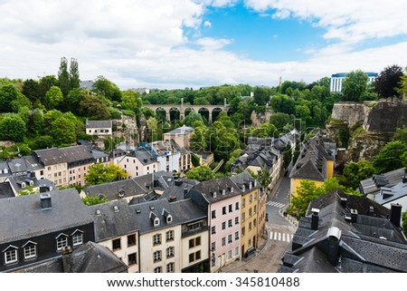 A panorama of Luxembourg old town - stock photo