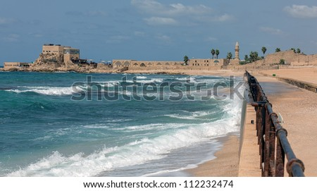 A panorama of quay in the ancient city of Caesarea, Israel - stock photo