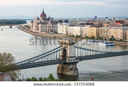 a panorama of the city of Budapest, Hungary - stock photo