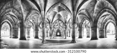 A panorama of the historic Cloisters of Glasgow University. Dramatic black and white processing. - stock photo