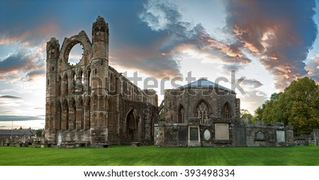 A panorama of the ruins of Elgin Cathedral at dusk. Moray, Scotland, UK