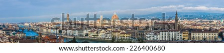 A panorama of the skyline of Florence, Italy - stock photo