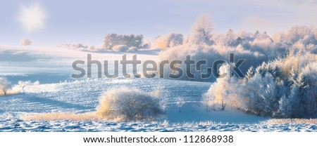 A panorama photo of winter landscape at sunrise - stock photo