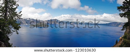 A panorama view of blue crater lake in the crater national park - stock photo