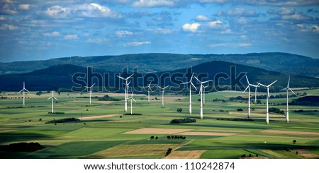 A panorama wind farm in Hesse, Germany - stock photo
