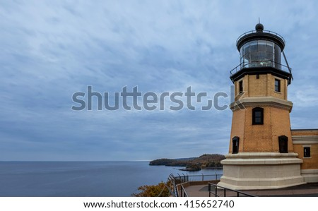 A Panoramic Autumn Dusk Shot of the Split Rock Lighthouse Guarding Over Lake Superior