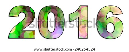 A panoramic graphic design of the numbers 2016 symbolizing the new year and a new start. The font is filled with circular colorful blurred, bokeh lights. - stock photo