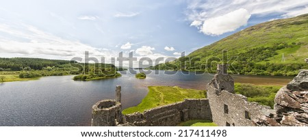 A panoramic image of Loch Awe as viewed from Kilchurn Castle, a ruined 15th century structure on the banks of Loch Awe, in Argyll and Bute, Scotland. - stock photo