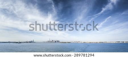A panoramic image of New York Manhattan - stock photo
