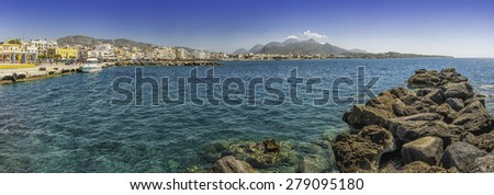 A panoramic image of the southern coastal town of Lerapetra on the Greek island of Crete. - stock photo
