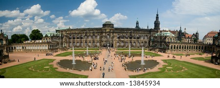 A panoramic image of the Zwinger Museum in Dresden, Germany - stock photo