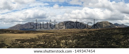 a panoramic photo of the mourne mountains in ireland - stock photo