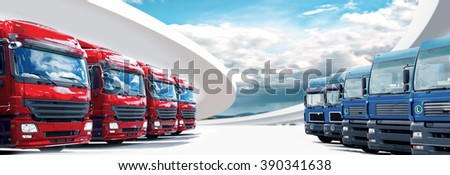 a panoramic picture in web page format with cargo fleet - stock photo