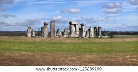 A panoramic shot of Stonehenge. - stock photo