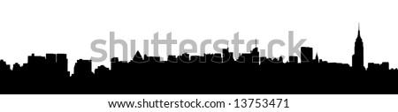 A panoramic silhouette of the New York City Skyline - stock photo