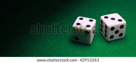 A Panoramic style shot of a pair of dice - stock photo