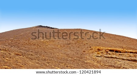 A panoramic view in Mountains of fire in National Park Timanfaya in Lanzarote, Canary Islands