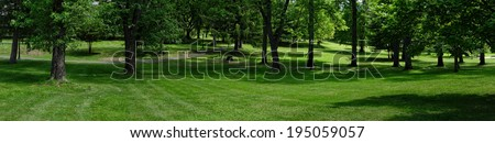 A panoramic view of beautiful park with lush green grass and trees.