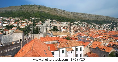 A panoramic view of Dubrovnik, Croatia.