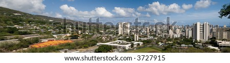 A panoramic view of Honolulu as seen from the Punchbowl. - stock photo