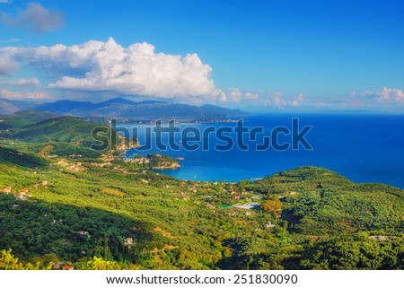 A panoramic view of Parga, as seen from Ali Pasha Castle - stock photo