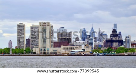 A panoramic view of Philadelphia's skyline as seen from the New Jersey side. - stock photo