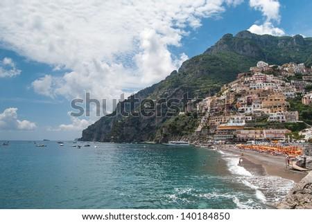 A Panoramic view of Positano. Italy - stock photo