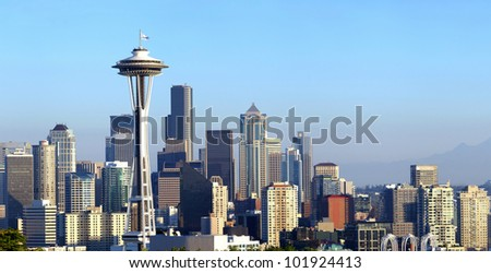 A panoramic view of Seattle Washington and modern skyline buildings.