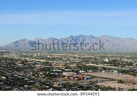 A panoramic view of the city of Tucson, Arizona, USA, in horizontal