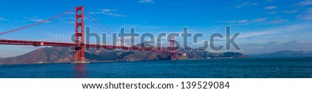 A panoramic view of the Golden Gate Bridge in San Francisco, California - stock photo