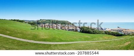 A panoramic view of the historic Hastings in England - stock photo