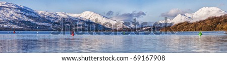 A panoramic view of the majestic and impressive Ben lomond from across loch lomond near the Scottish town of balloch. - stock photo