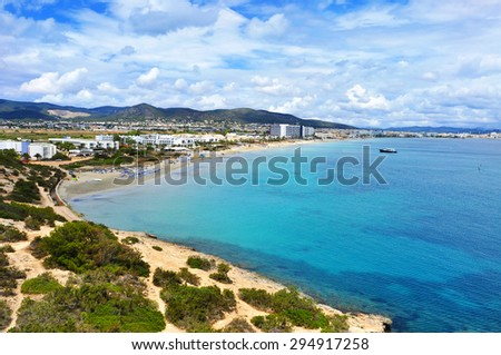 a panoramic view of the Platja den Bossa beach in Ibiza Town, in Ibiza Island, Balearic Islands, Spain - stock photo