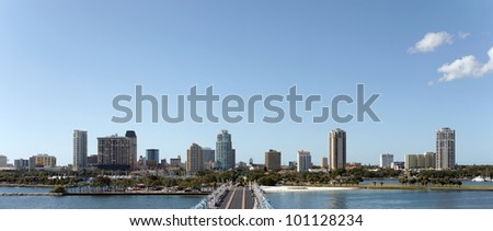 A panoramic view of the skyline of St. Petersburg, Florida. - stock photo