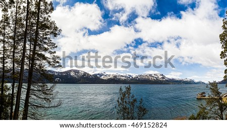 A panoramic view of the Traful lake in Villa Traful, Neuquen, Argentina.
