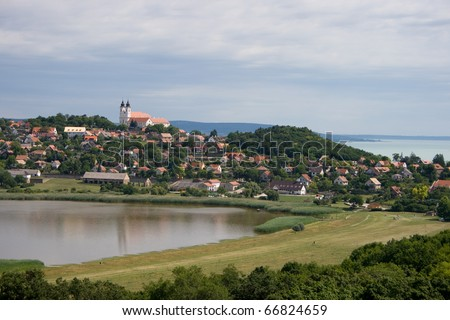 A panoramic view of Tihany Abbey with the inner lake and Lake Balaton in Hungary