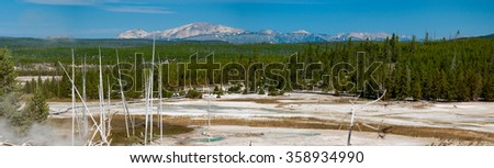A panoramic view of Yellowstone National Park - stock photo