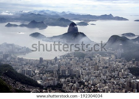 A panoramic view on Rio de Janeiro and the Sugar Loaf mountain, Brazil. - stock photo