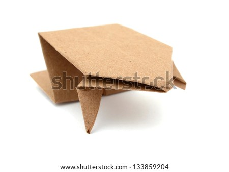 A paper frog origami isolated white - stock photo