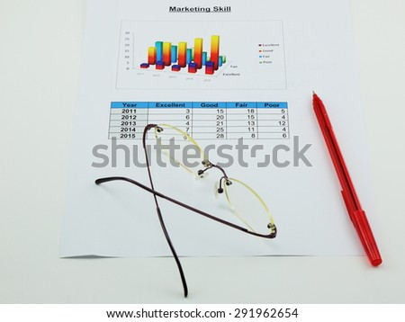 a paper of analyze marketing, pen and spectacles