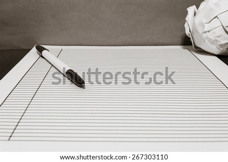 A paper on table  - stock photo