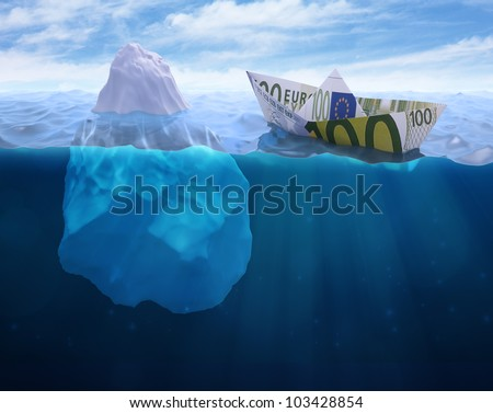 A paper ship made out of a Euro banknote heading into an iceberg - stock photo