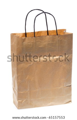A paper shopping bag with black handle, isolated on white background