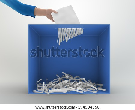 A paper shredder used as a ballot box - stock photo