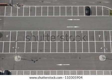 A Parking space from above. - stock photo