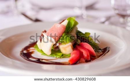 A parma ham and melon salad - stock photo