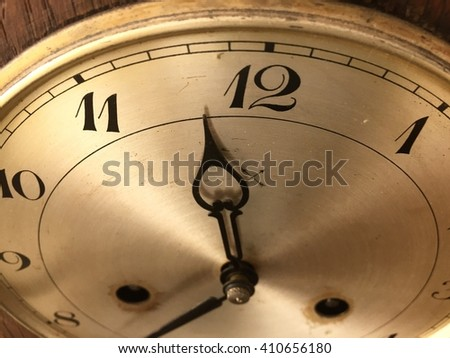 A part of classic clock with moving pointer