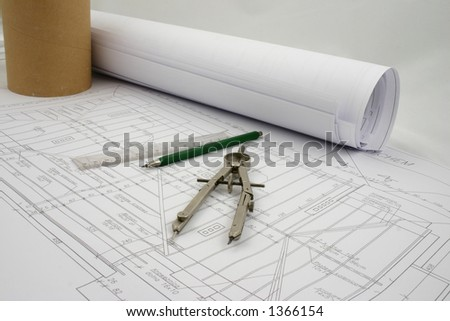 A part of design with a pair of compasses, pencil and ruler - stock photo