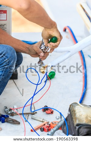 A part of preparing to install new air conditioner.  - stock photo