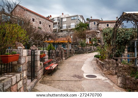 A part of Przno village.Montenegro. - stock photo